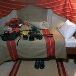 Camera Gears on Bed, Matira Bush Camp