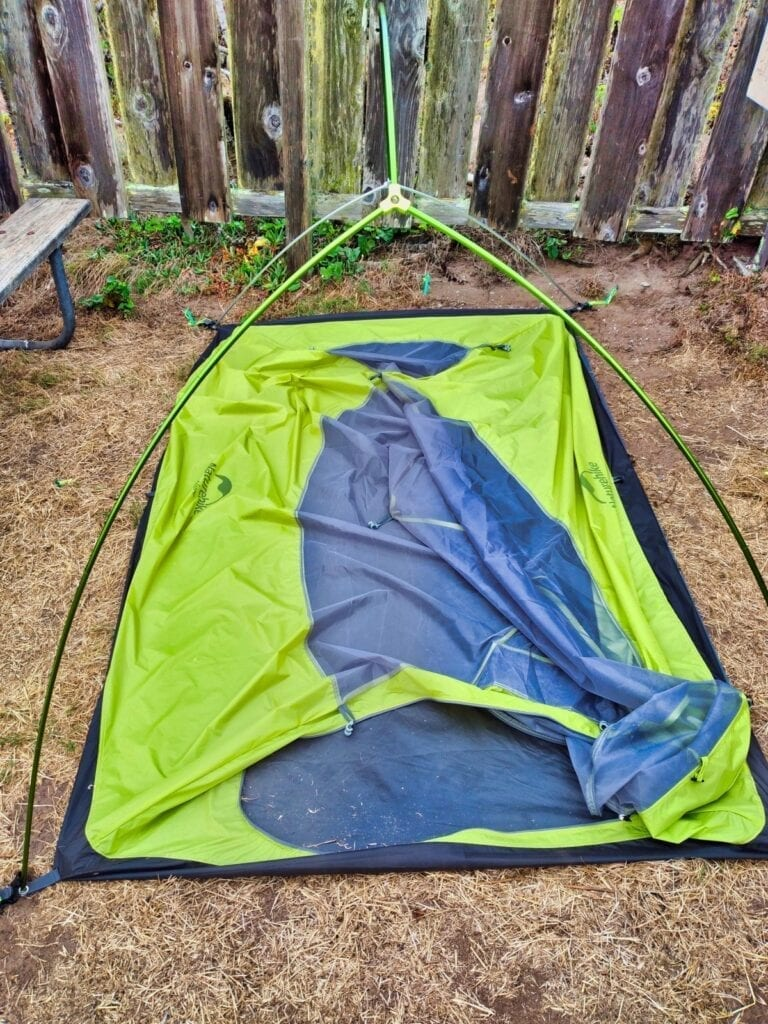 NatureHike tent collapsed for packing